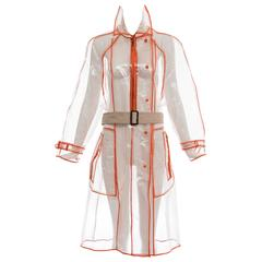 Prada Transparent PVC Rain Coat Contrasting Orange Trim, Fall 2002