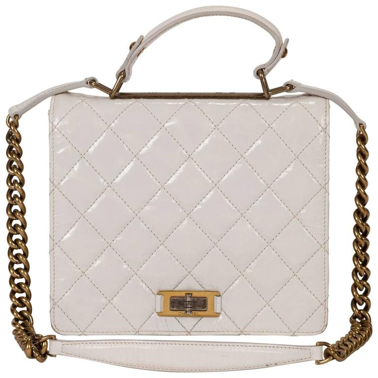 Chanel White Distressed Leather Boy Bag