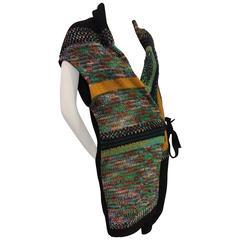 Dries Van Noten Hand-Loomed Wool Knit Tunic Vest w/ Side Tie
