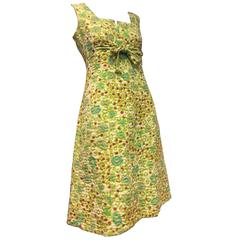 1960s Pauline Trigere Quilted Colorful Floral A-Line Mod Dress w Empire Tie