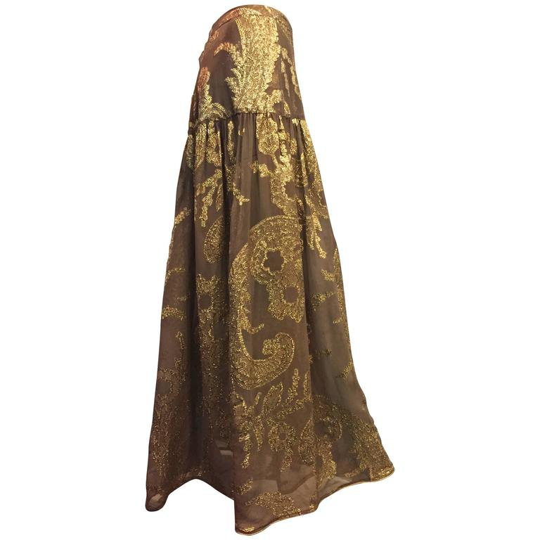 Late 1970s Saint Laurent Taupe Silk and Gold Lamé Paisley Patterned Maxi Skirt For Sale