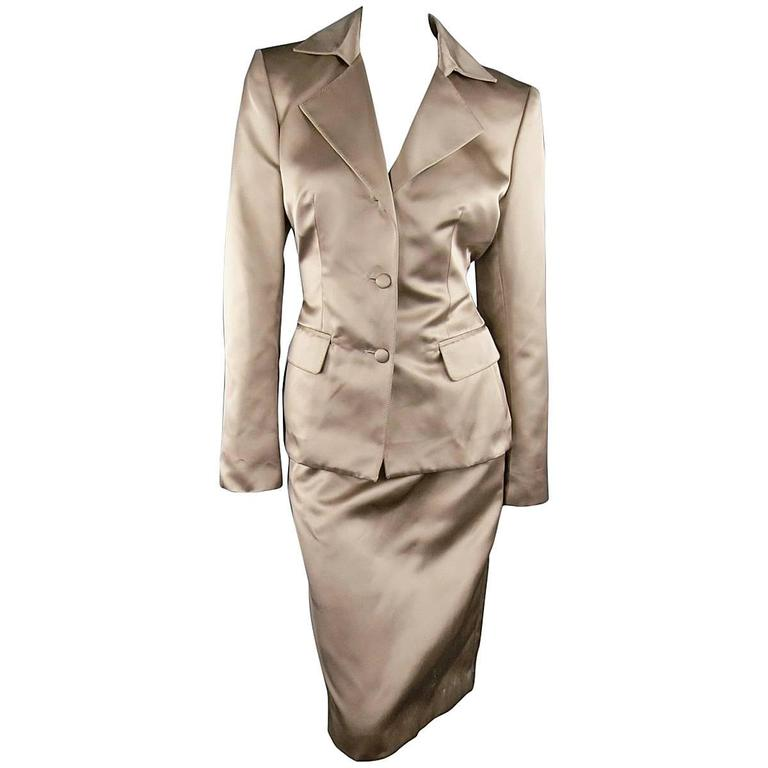YVES SAINT LAURENT Size 10 Muted Mauve Beige Silk Satin Top Stitch Skirt Suit