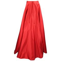 RALPH LAUREN COLLECTION Size 8 Red Silk Satin Full Length Drawstring Maxi Skirt