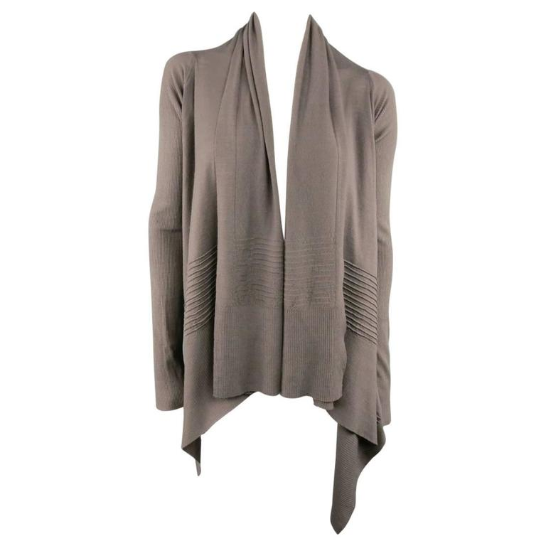 RICK OWENS Size S Taupe Ribbed Sleeve Draped Collar Open Cardigan