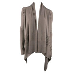 RICK OWENS Cardigan - Women's 2013 - Size S Taupe Ribbed Sleeve Draped