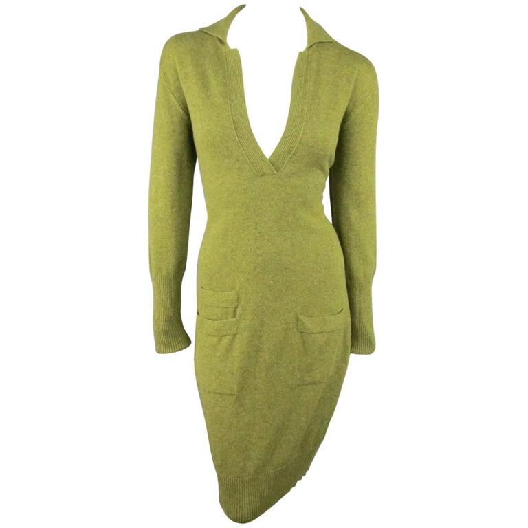 Vintage HERMES Size 10 Olive Cashmere Long Sleeve Collar Dress 1