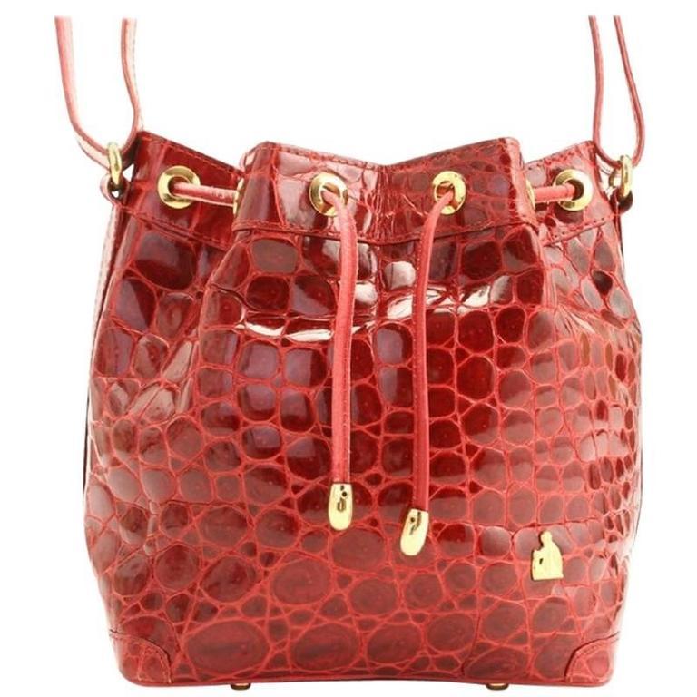 Vintage LANVIN genuine glossy red crocodile bucket, hobo shoulder bag. Rare bag.