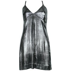 Paco Rabanne Silver Foil Grid Mini Dress