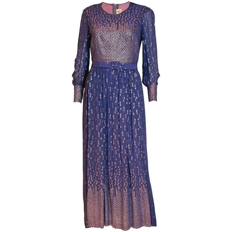 Hardy Amies Blue and Gold Gown