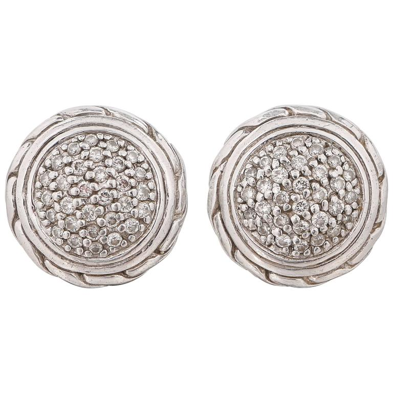 John Hardy Clic Chain Round Pave Diamond 18k Sterling Silver Stud Earrings