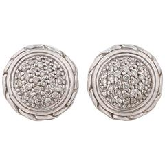 "JOHN HARDY ""Classic Chain"" Round Pave Diamond 18K Sterling Silver Stud Earrings"