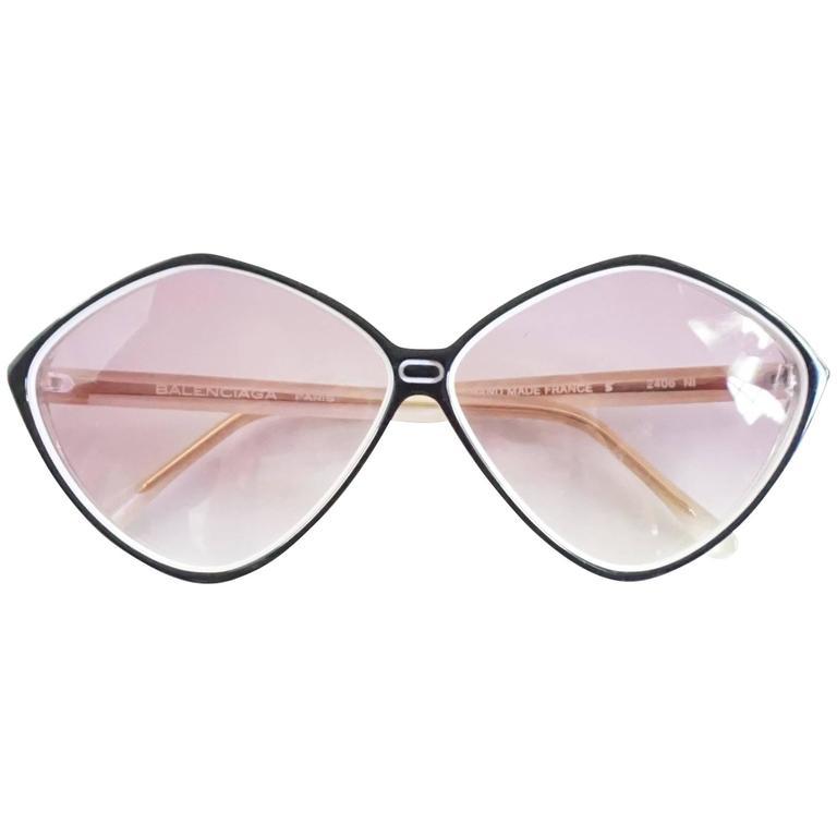 Balenciaga Black and White Diamond Shape Lucite Sunglasses - 1980's