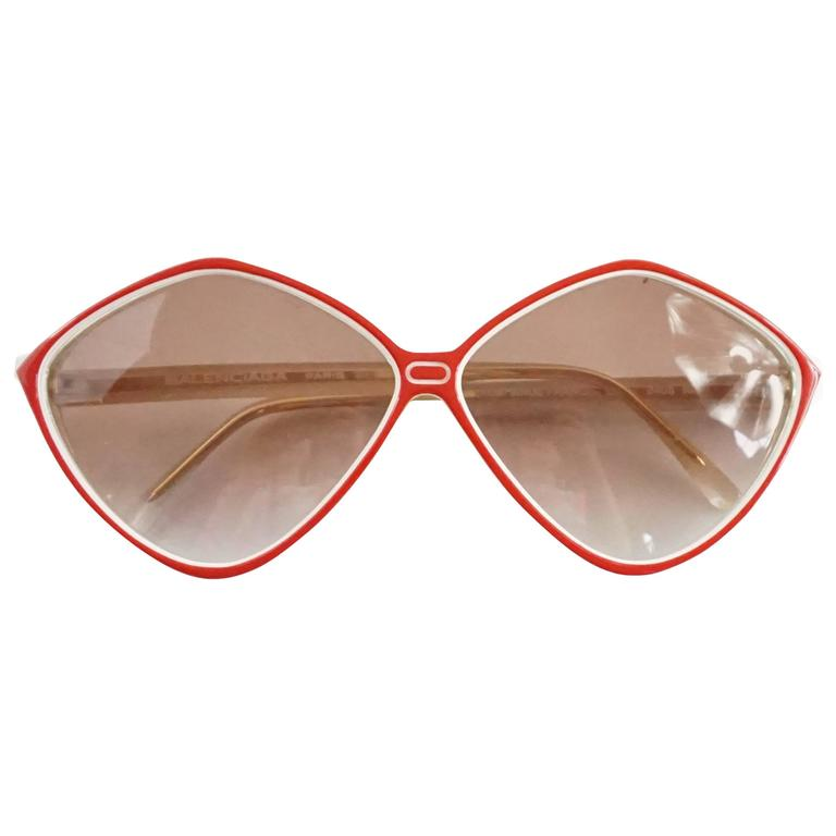 Balenciaga Red and White Diamond Shape Lucite Sunglasses For Sale