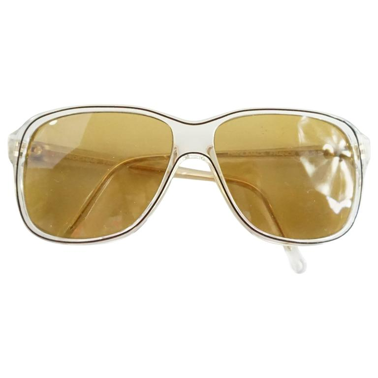 Rochas Clear Square Sunglasses with Brown Lens
