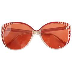 Balenciaga Red and Clear Lucite Sunglasses with Red Lenses