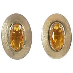 Whiting & Davis Silver and Amber Rhinestone Earrings