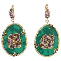 Malachite Gold Vermeil Drop Earrings with Pink and Yellow Sapphires