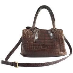 Giorgio's Brown Alligator Shoulder Bag with Crossbody Strap