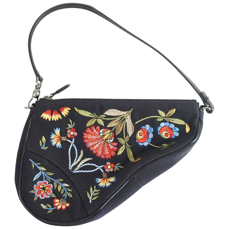 a6249e84ee Christian Dior Black and Multi Floral Embroidered Saddle Bag - SHW For Sale