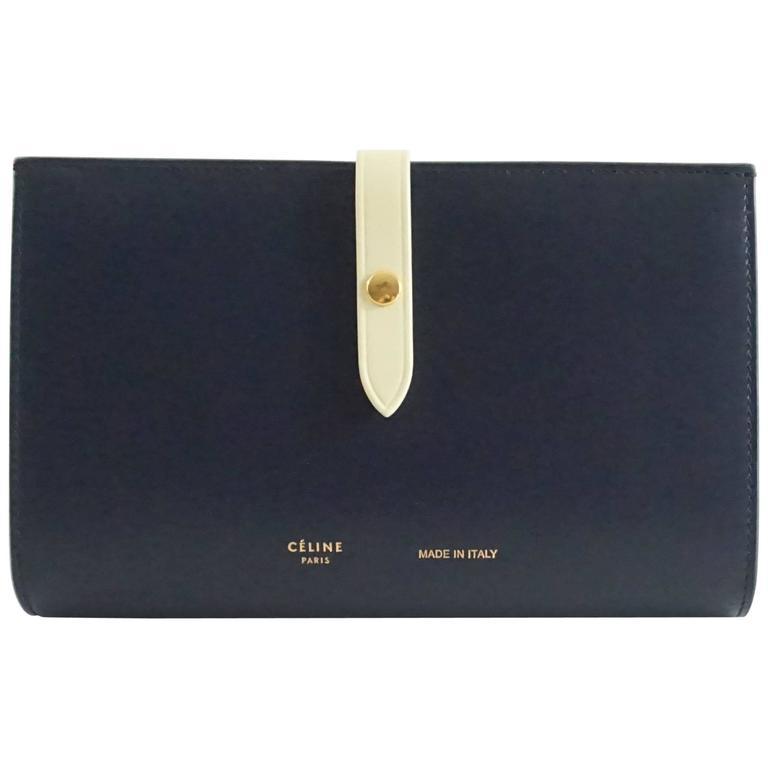 Celine Navy and Ivory Oversize Wallet  For Sale