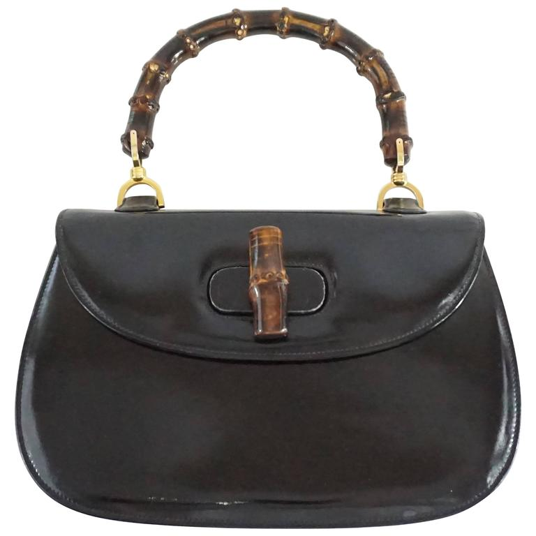 a964041de Gucci Black Leather Bamboo Handle Bag - 1950's - GHW at 1stdibs