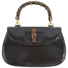 Gucci Black Leather Bamboo Handle Bag - 1950's - GHW