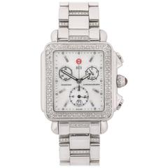 "MICHELE ""Deco"" Chronograph Diamond Stainless Steel Watch + Diamond Band"