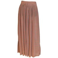 Courreges Brown and White Stripe Skirt