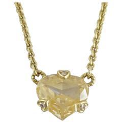 Judith Ripka 18K Gold Canary Quartz Heart and Diamond Necklace