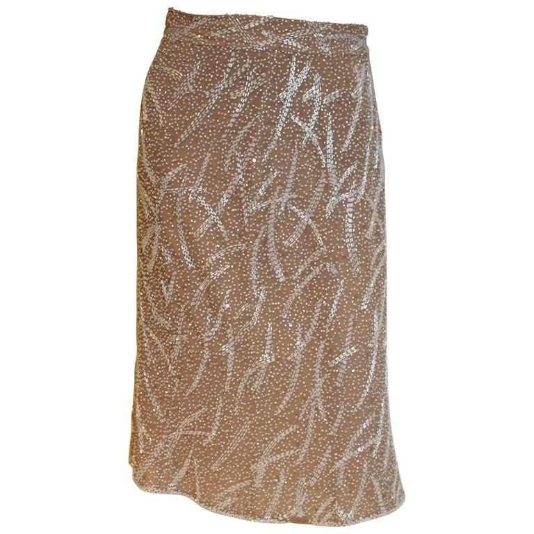 1980s silk,beaded and sequinskirt For Sale