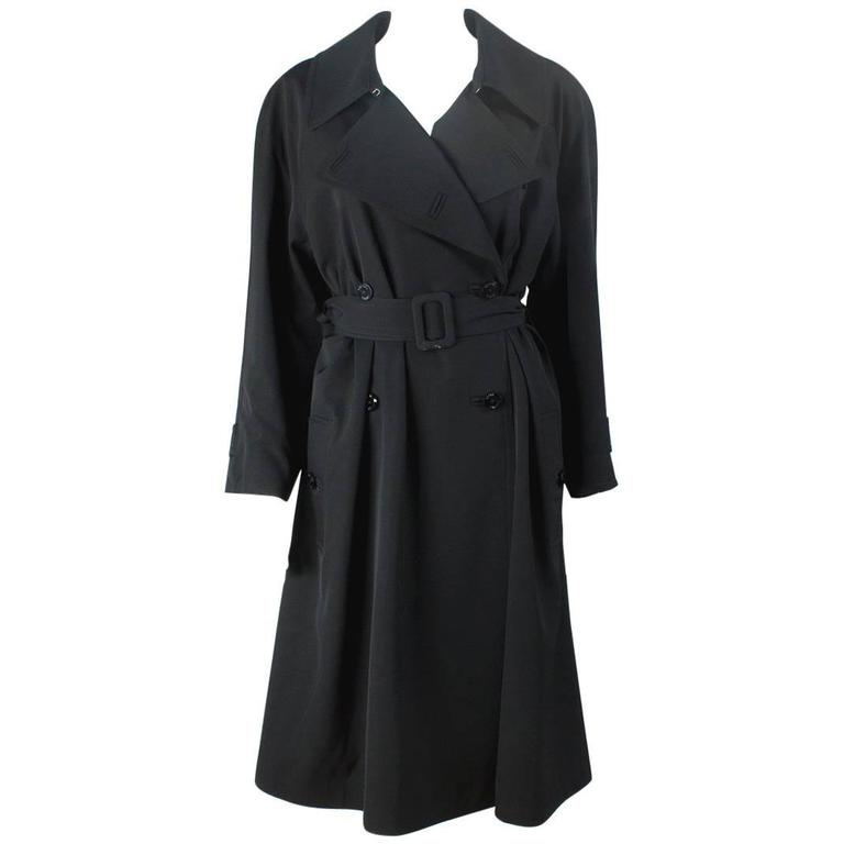 1990s Chanel vintage Double Breasted black wool trench coat For Sale