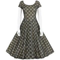 MISS JANE JUNIOR c.1950's Black Floral Lace Rhinestone Embellished Party Dress