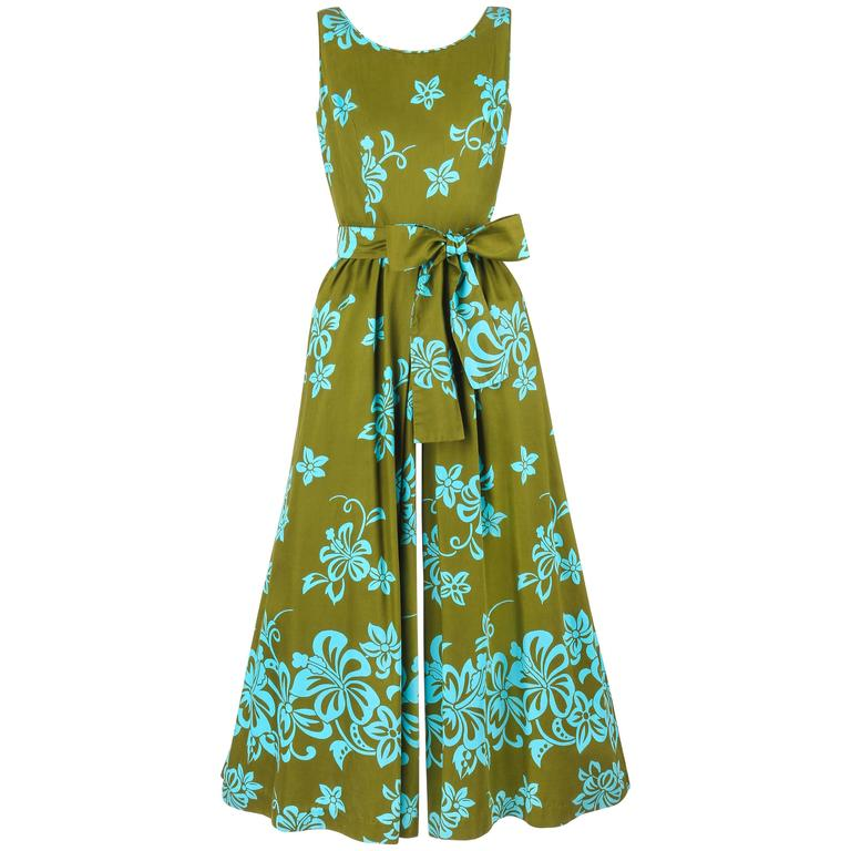 WALTAH CLARKE'S HAWAIIAN SHOP c.1960's Olive Green & Turquoise Floral Jumpsuit For Sale