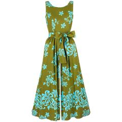 WALTAH CLARKE'S HAWAIIAN SHOP c.1960's Olive Green & Turquoise Floral Jumpsuit