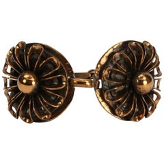 Modernist signed Rebajes Copper Flower Bracelet