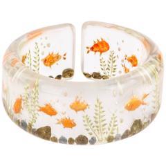 c.1940's Clear Plastic Lucite Reversed Hand Carved Goldfish Cuff Bracelet