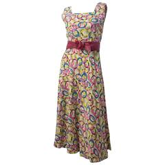 50s Seersucker Print Summer Dress with Belt