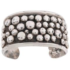 c.1976 Artisan Made Signed Sterling Silver Modernist Southwestern Cuff Bracelet