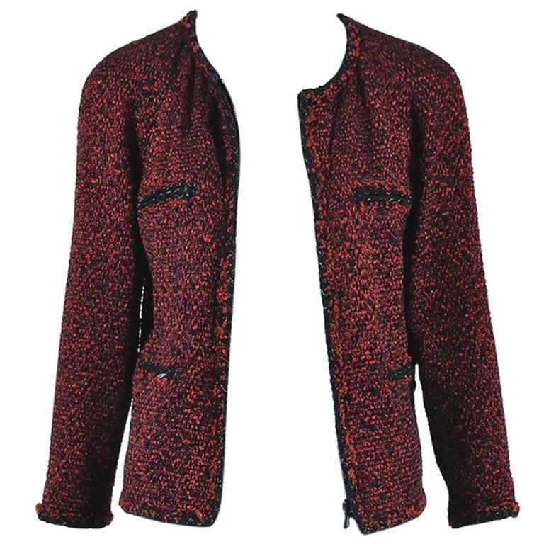 Chanel Red & Black Tweed Zipped Jacket SZ 42 1