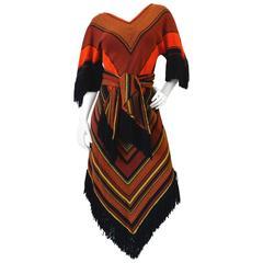 1970s Rikma Chevron Fringe Dress