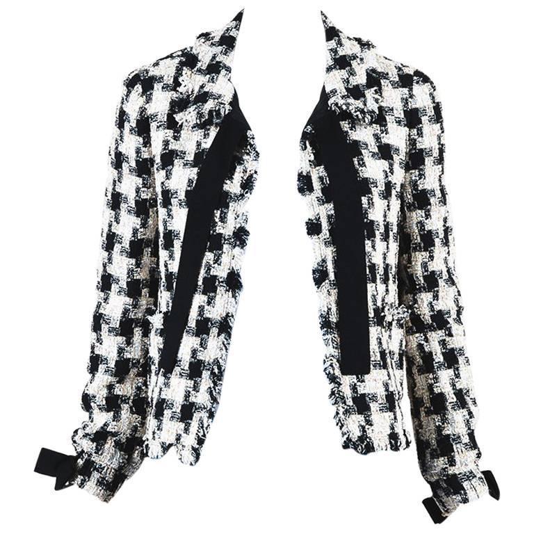 Chanel 04A Cream Black Multicolor Tweed Checkered Bow Long Sleeve Jacket SZ 38 1