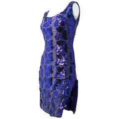 80s Purple Sequin Snake Pattern Dress