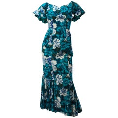 50s Cotton Flamenco Style Floral Print Dress