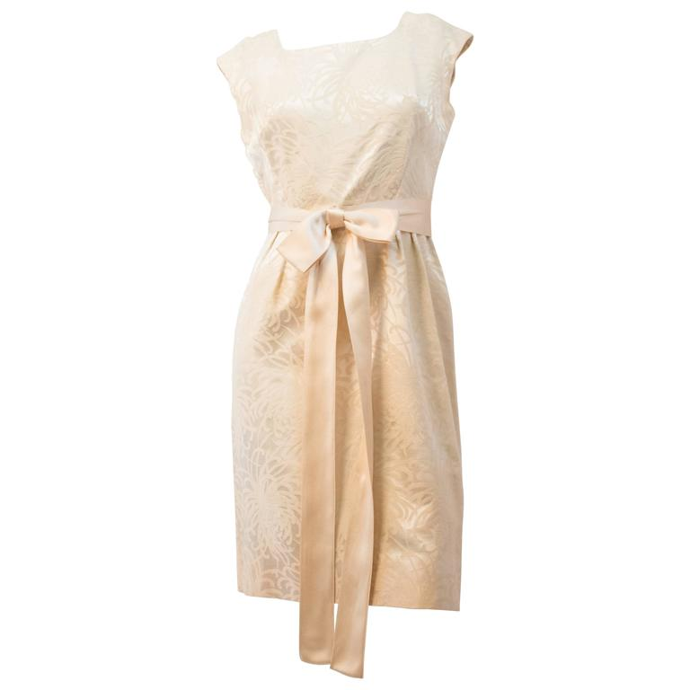 60s Sheath Dress Gold Embroidery with Satin Bow