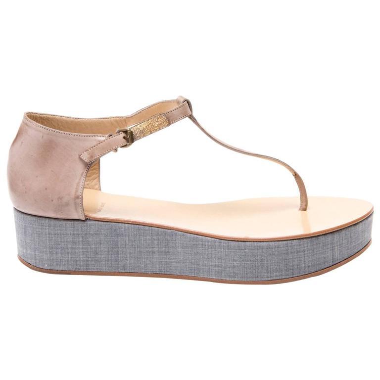 Brunello Cucinelli Tan & Denim Thong Sandals For Sale