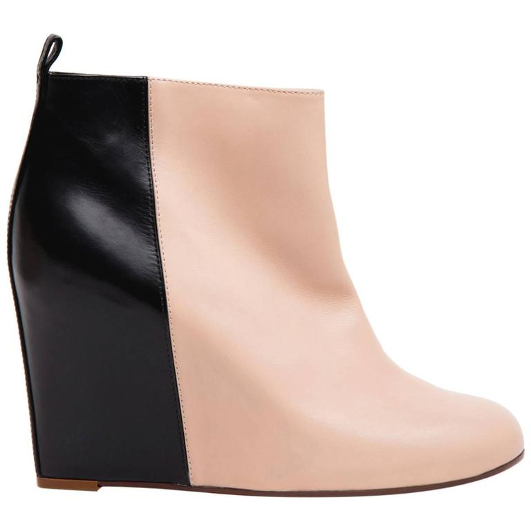 Celine Black & Pink Wedge Ankle Boots