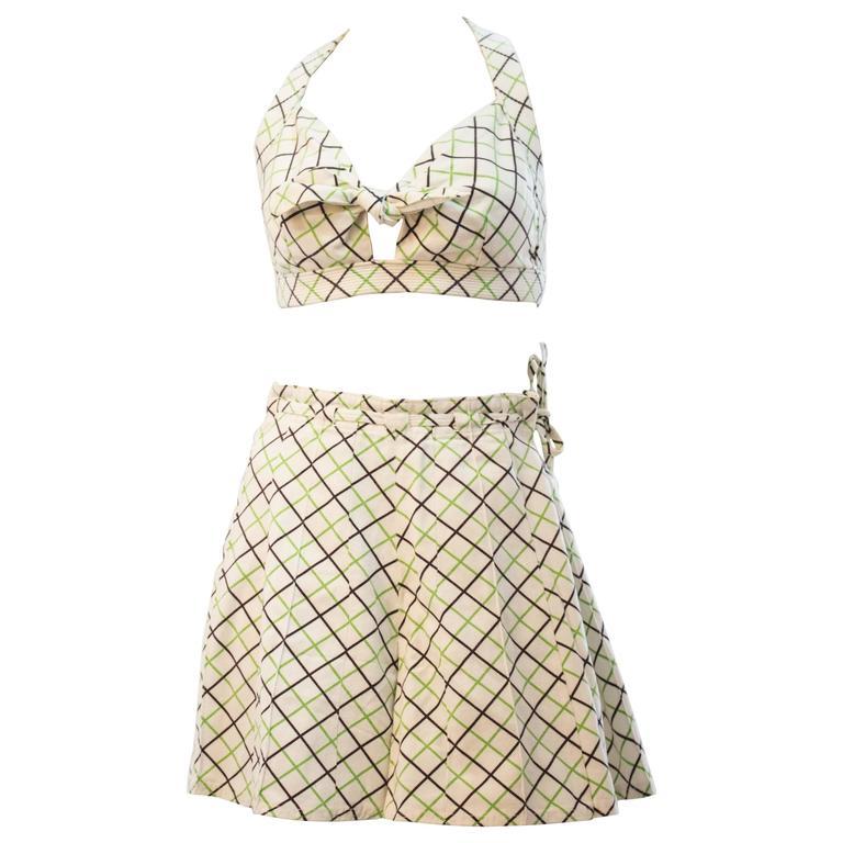 50s Plaid Two Piece Swimsuit/ Sunsuit