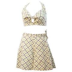 1940s/1950s Plaid Two Piece Cotton Sunsuit with Halter Top
