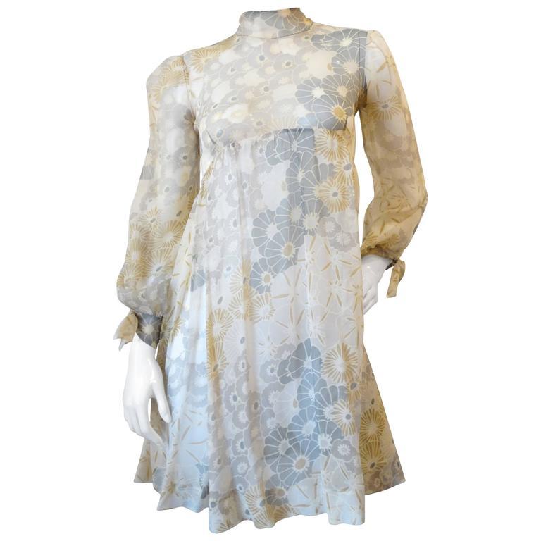 Fabulous 1970s Sheer Floral Babydoll Dress