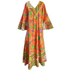 1970s Jay Morley + Fern Violette Orange Boho Cotton Caftan 70s Maxi Dress